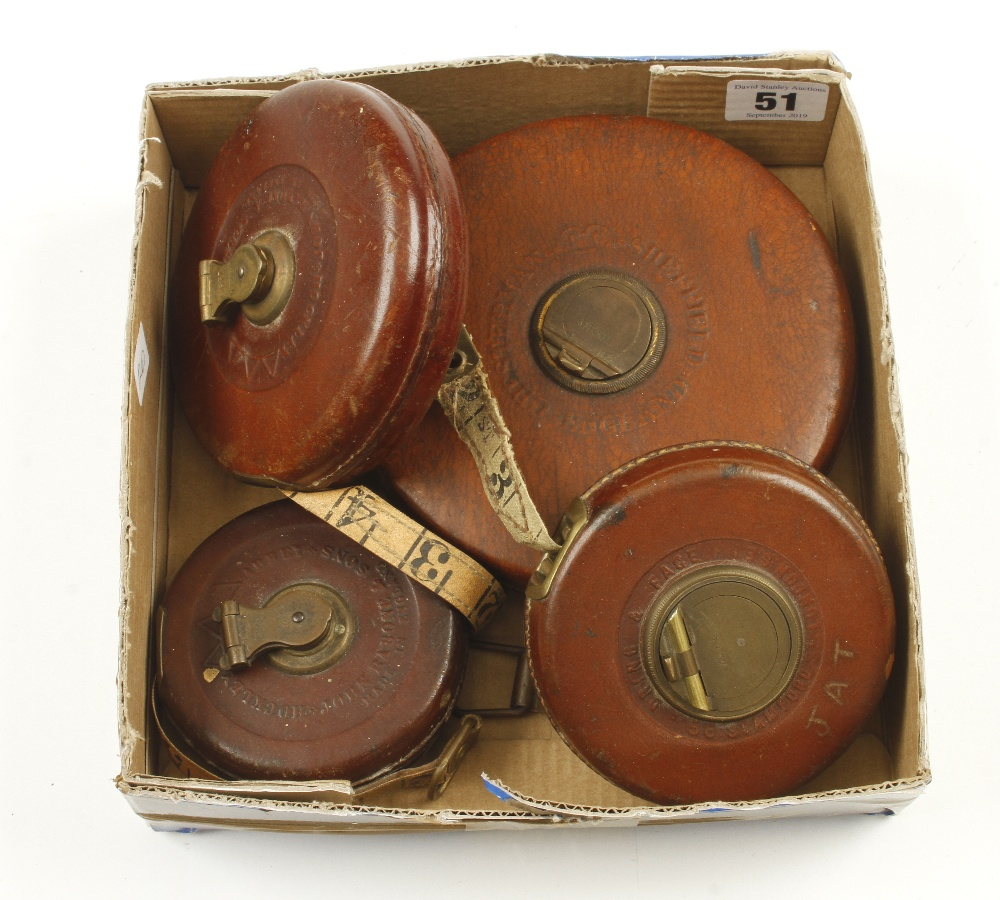 Lot 51 - A 30' leather bound tape by DRING & FAGE and three others G+