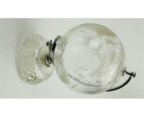A Waterford crystal etched model of a Globe of the World, on shaped base. (1)