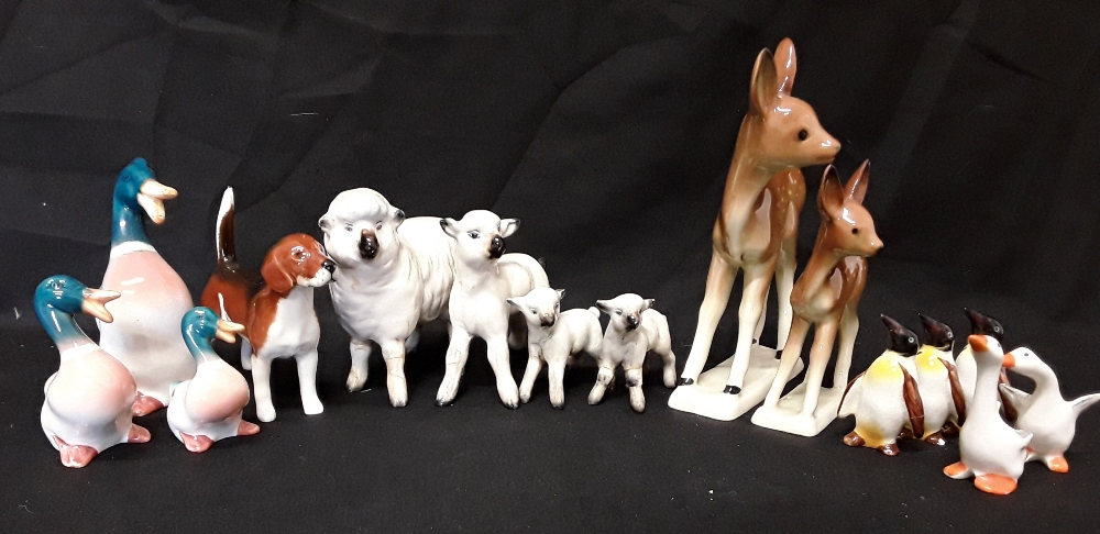 Lot 15 - A collection of china animals including Beswick and Goebbels etc. (15 in total).