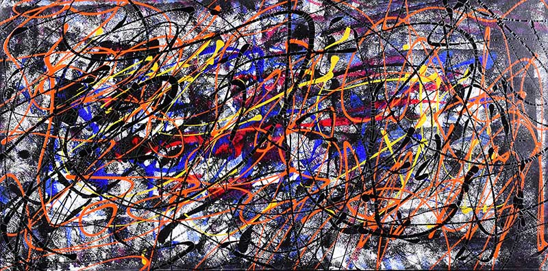 Lot 25 - Kevin Sharkey - I LOVE CHAOS - Oil on Canvas - 24 x 48 inches - Signed