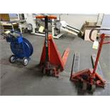 LOT (2) Hyd. Pallet Jacks, (1) Banding Cart w/Tools, (1) 5000 Lb., (1) 1000 Kg. (Located in W.