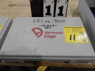 "Lot 11 - VERMONT GAGE PIN SET .251"" TO .500"" MINUS SET"