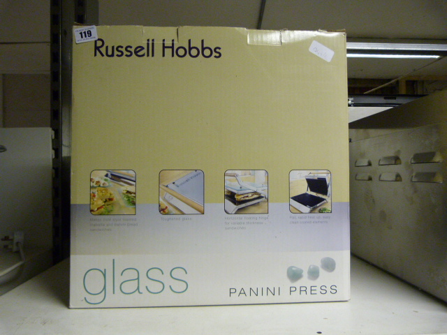 Lot 119 russell hobbs glass panini press boxed
