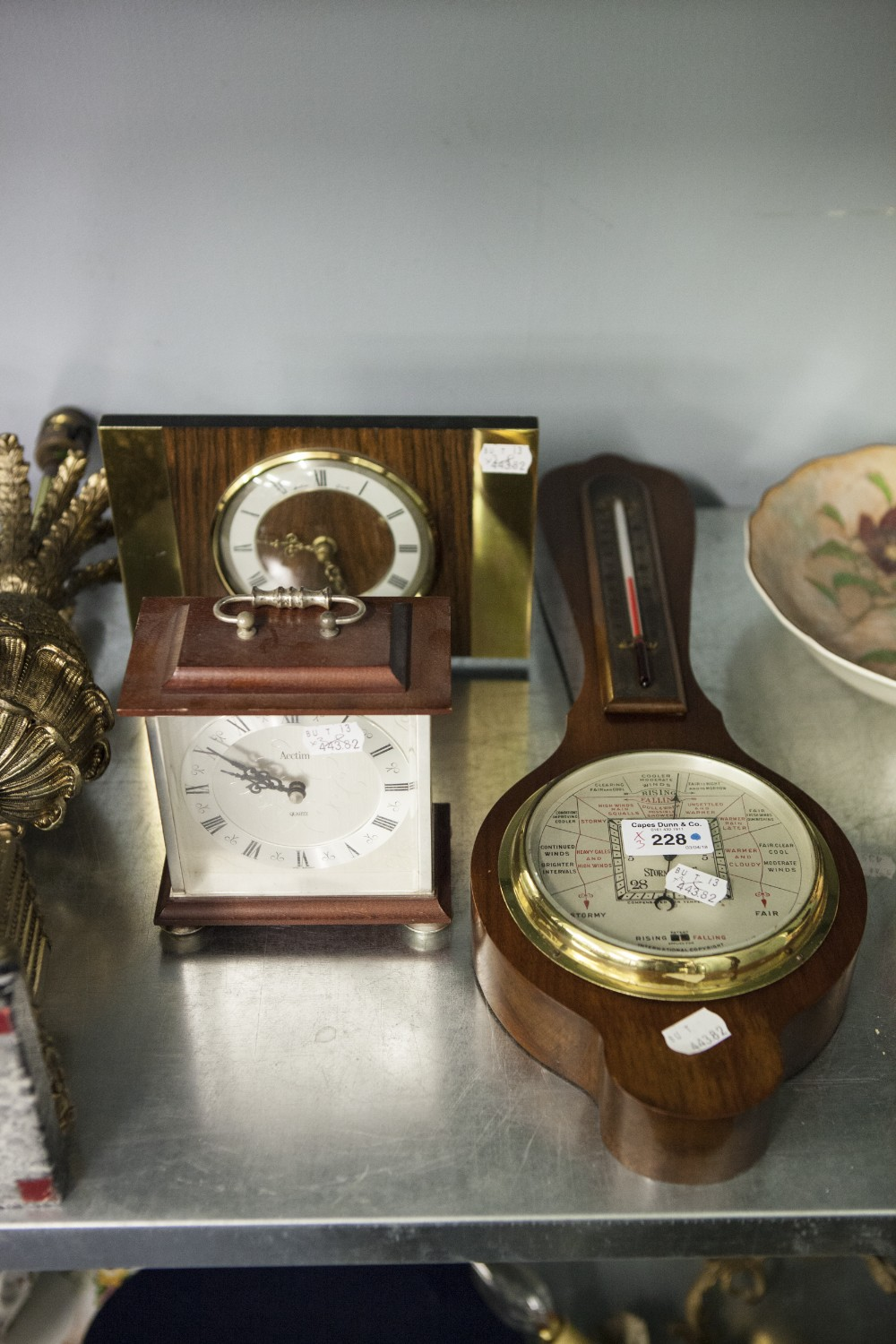 Lot 228 - S&M ANEROID BAROMETER AND ALCOHOL THERMOMETER IN WALNUT CASE, stamped 2437, BENTIMA QUARTZ WALNUT