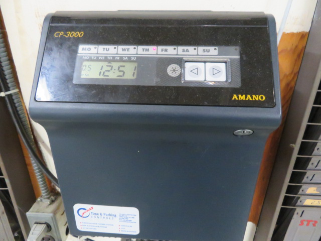 AMANO CP-3000 ELECTRONIC TIME CLOCK W/RACKS - Image 2 of 2
