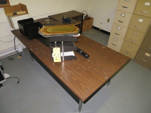 """72"""" METAL DESK AND TYPEWRITER STANDS"""