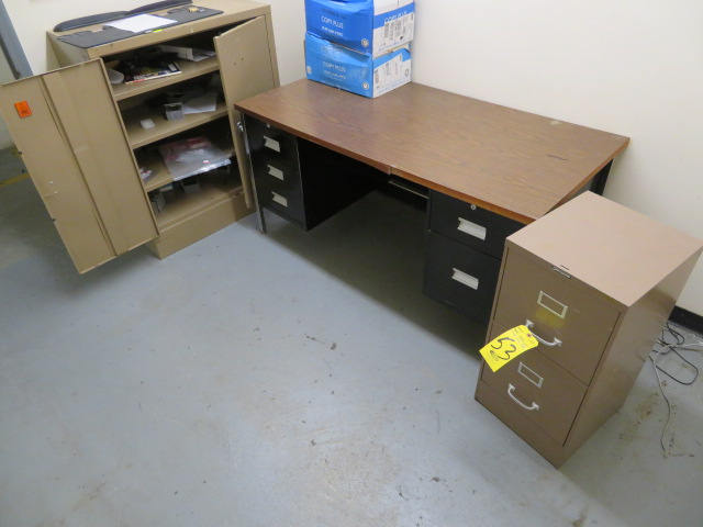 """60"""" DESK, FILE CABINET AND SUPPLY CABINET"""