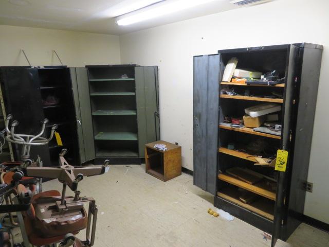 (3) DBL DOOR SUPPLY CABINET, STEEL SHELF UNIT AND CONTENTS