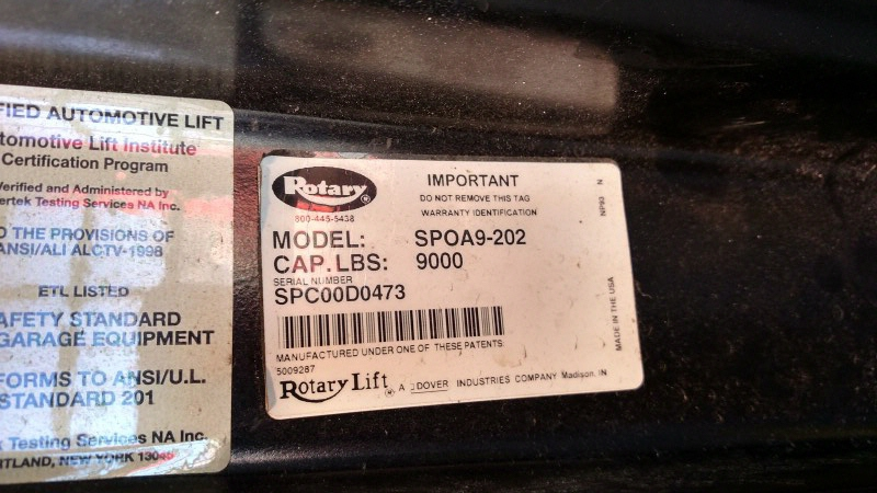 Lot 12 - Rotary SPOA9-202 / 9,000 Lb. 2-Post Surface-Mount Lift (Model Year: 2000), Extended Height (14'