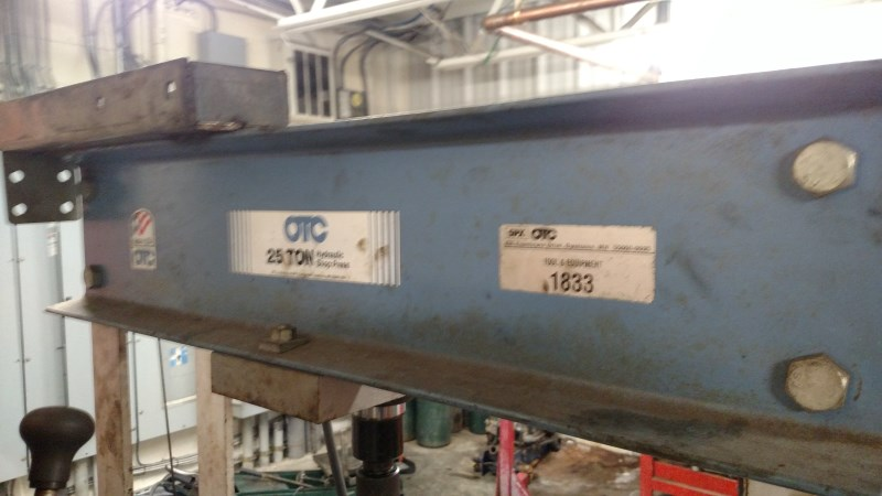 Lot 5 - SPX-OTC 25 Ton H-Frame Hyd. Shop Press w/ Hand Pump