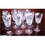 "A set of twelve ""Lismore"" cut glass sherries"