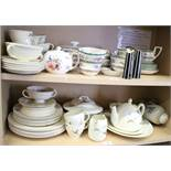 """A Royal Doulton """"Coppice"""" pattern part combination service, forty pieces approx, two similar pieces,"""