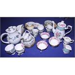 """A Royal Doulton """"Burgundy"""" pattern coffee set, two other coffee sets, and other decorative china"""