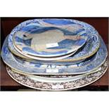 A 19th century blue and white Greek vase and armorial centre shallow bowl, an Anchor Line tazza