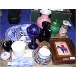 """Four Copeland Spode """"Italian"""" pattern salad crescents, three matching soup bowls and two stands, and"""