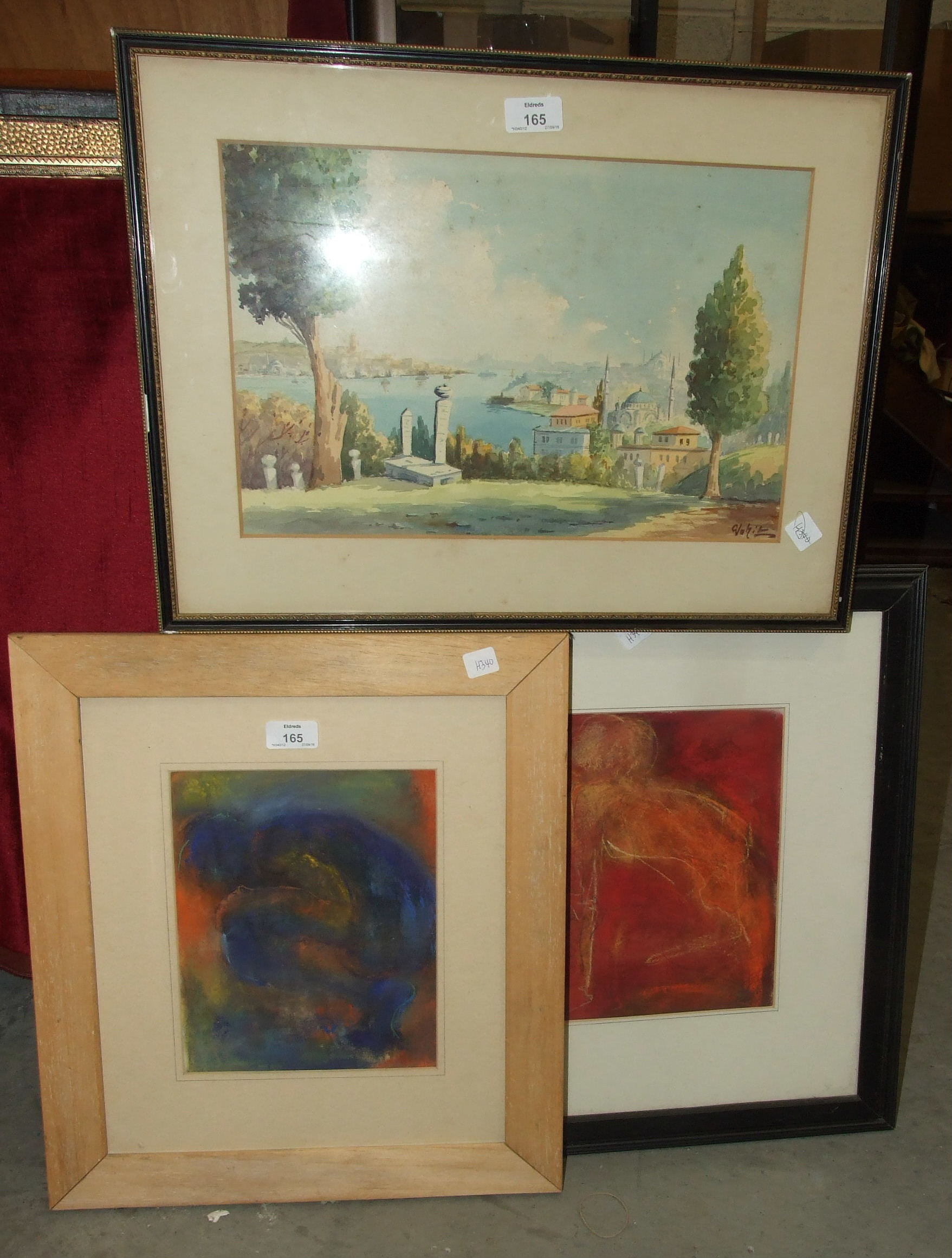 Lot 165 - Two unsigned abstract pencil and pastel pictures and other pictures and prints.