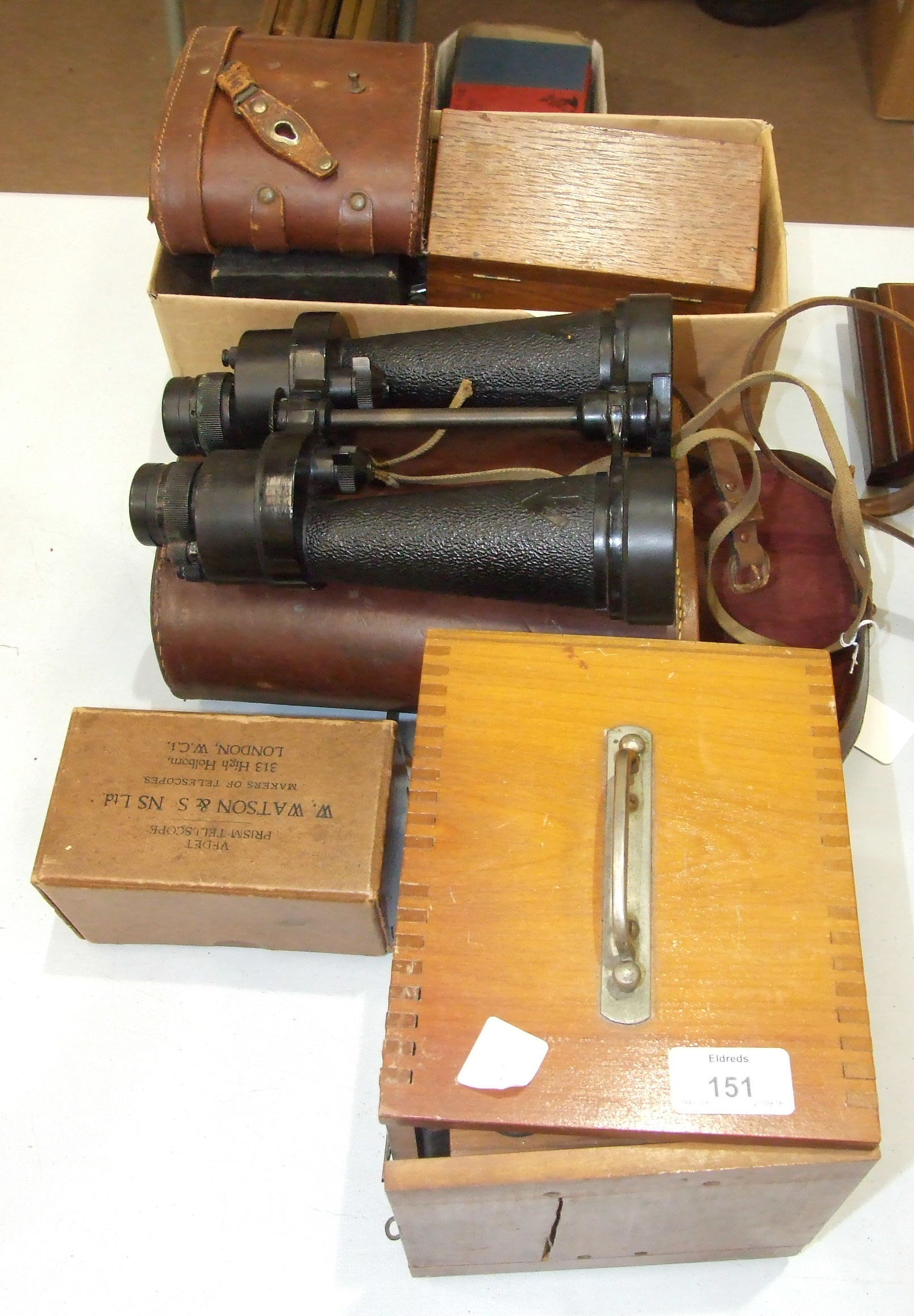 Lot 151 - A pair of Barr & Stroud military binoculars in case, a small travelling microscope, various