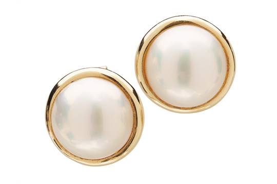 A Pair Of Mabe Pearl Earrings Each Claw Set With Single In Plain Yellow Metal Moun