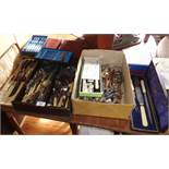 Large quantity of assorted cutlery, inc. three carving sets etc.