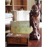 Modern Chinese carved wood figural table lamp, an Indian painted wood dome top stationery box and