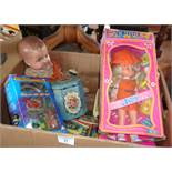 Playmate Anita doll, another vintage doll, assorted toys and 8-track tapes