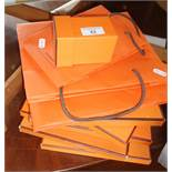 Quantity of Hermes scarf empty boxes and bags