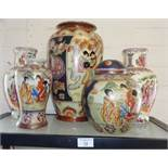 Four various Oriental china vases and a ginger jar