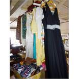 Vintage clothing, 1950's and 1960's evening dresses, silk skirt and dress, blouses, 1970's maxi