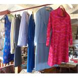 Collection of vintage clothing, inc. 1960's ladies psychedelic day dress, 1960's suits and dresses