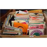 Large box of assorted vinyl single records