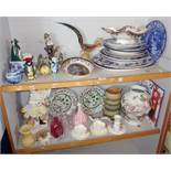 Two shelves of blue and white meat platters and plates, toby jugs, etc.