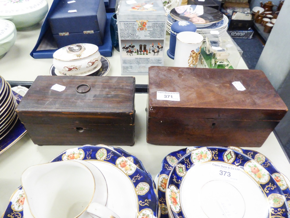Lot 371 - ANTIQUE MAHOGANY OBLONG TEA CADDY AND AN ANTIQUE GRAINED PINE TEA CADDY WITH RING HANDLE ON BALL
