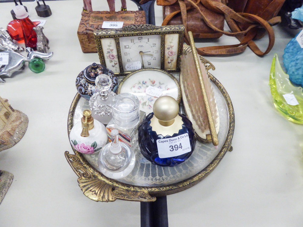 Lot 394 - A LADY'S GILT METAL DRESSING TABLE BRUSH SET, WITH FLORAL EMBROIDERED PANELS, 6 PIECES VIZ A