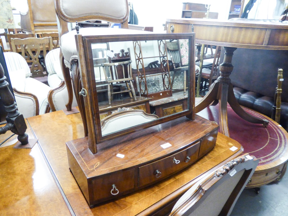 Lot 187 - A LATE GEORGIAN STYLE MAHOGANY BOW FRONTED BOX TOILET MIRROR