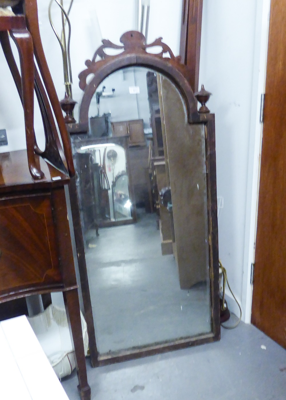 Lot 67 - VICTORIAN MAHOGANY FRAMED LARGE ARCH TOPPED MIRROR