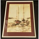 Vintage Art Framed Painting Watercolour Nautical Theme Signed Lower Right T Claverdon