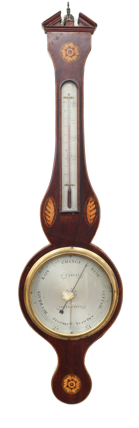 Lot 185 - Property of a deceased estate - a 19th century mahogany & inlaid banjo barometer, the 8.5-inch