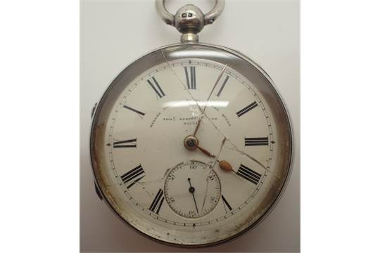 Hallmarked silver kewind open face pocket watch ( crystal
