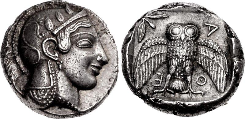Lot 211 - ATTICA, Athens. Circa 469/5-460 BC. AR Dekadrachm (31.5mm, 43.38 g, 3h). Head of Athena right,