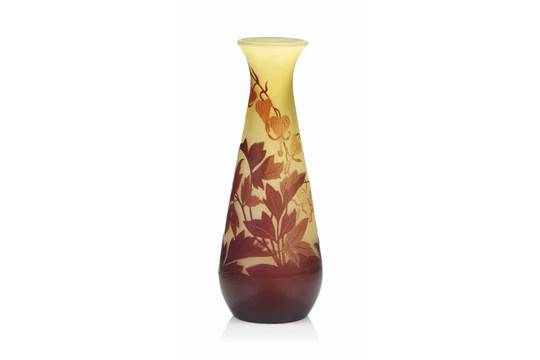 A Galle Cameo Glass Vase Circa 1910 The Yellow Glass Overlaid And