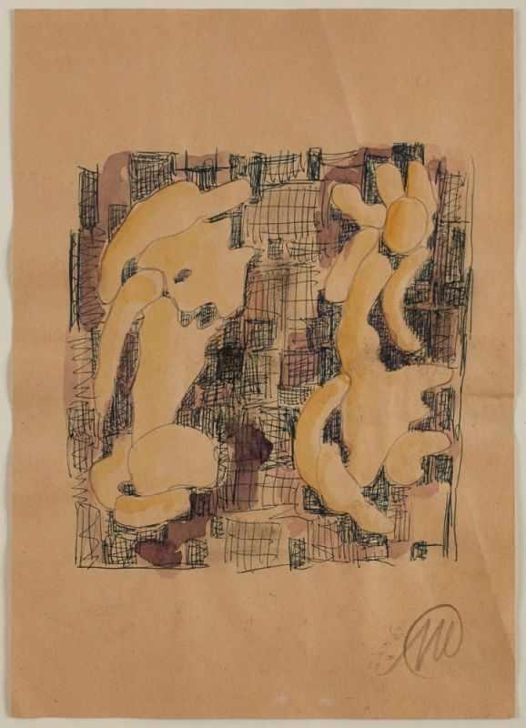 """Lot 28 - Aquarell, Graphit und KugelschreiberMarkus Lüpertz geb. 1941 Reichenberg """"o.T."""" u. re. monogr. ML"""