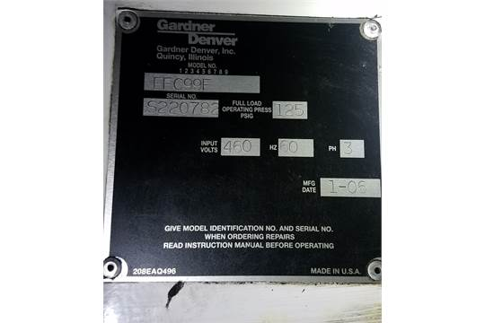 Gardner Denver Model EFC99F Rotary Screw Air Compressor S N
