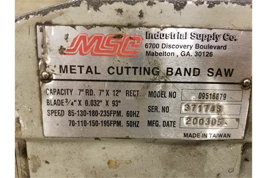 MSC Metal Cutting Bandsaw Model 09518879, 1/2 in  Blade