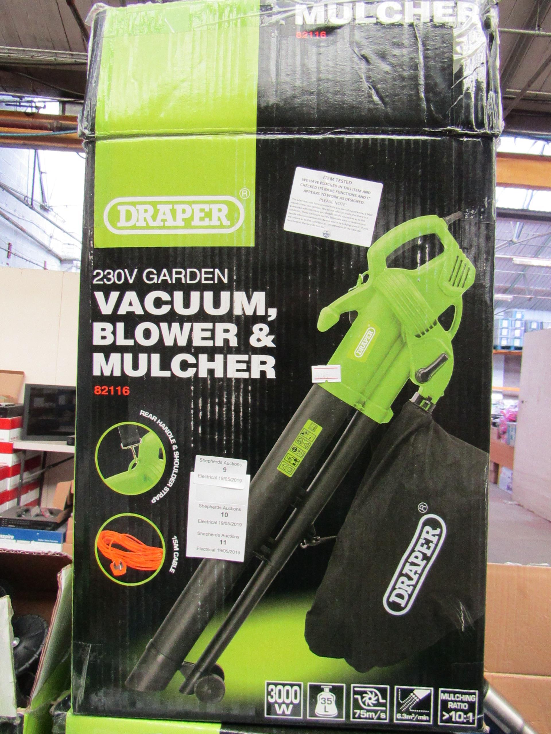 Lot 10 - Draper 230V Garden Vacuum, Blower & Mulcher , Tested Working & Boxed