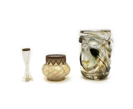A Whitefriars style cylindrical smoked glass vase, 24cm high, a Loetz style bowl with metal mount, 12cm high, and a silver to