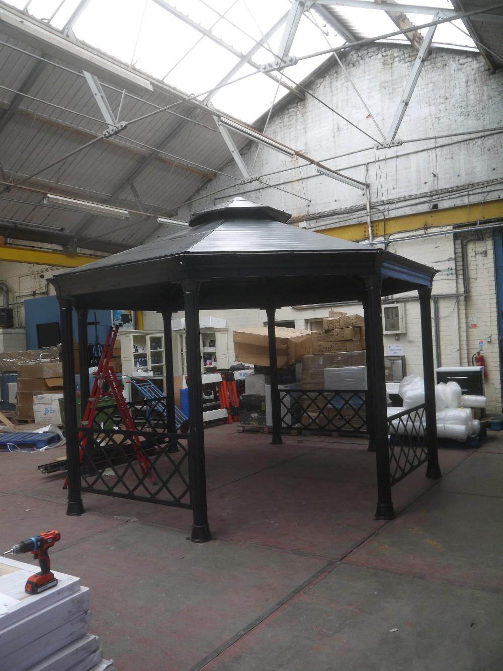 Costco large metal octagon hard top gazebo black colour