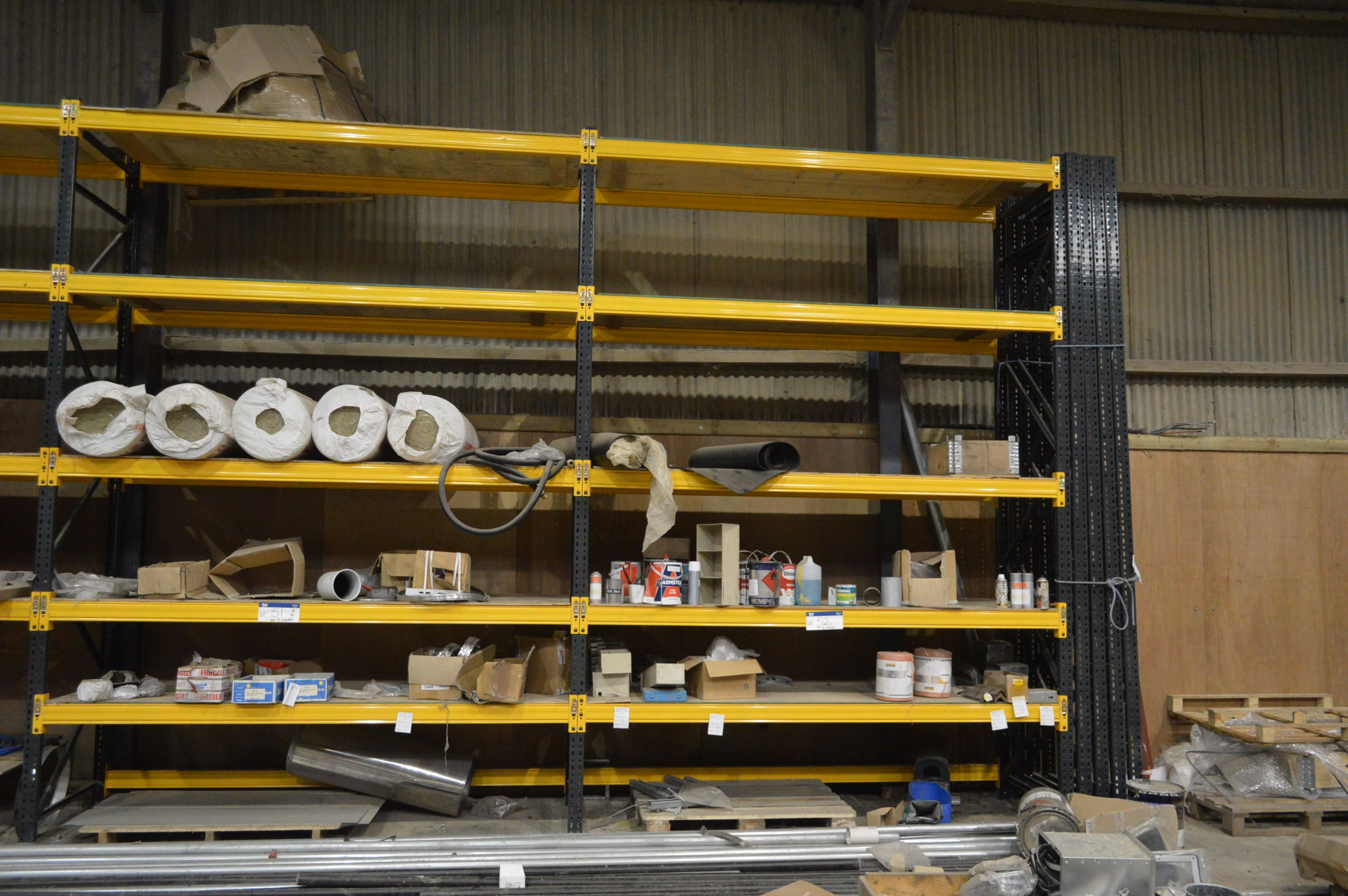 Lot 53 - EIGHT BAYS MULTI-TIER PALLET RACKING, comprising 15 uprights, each approx. 900mm x 4m high,