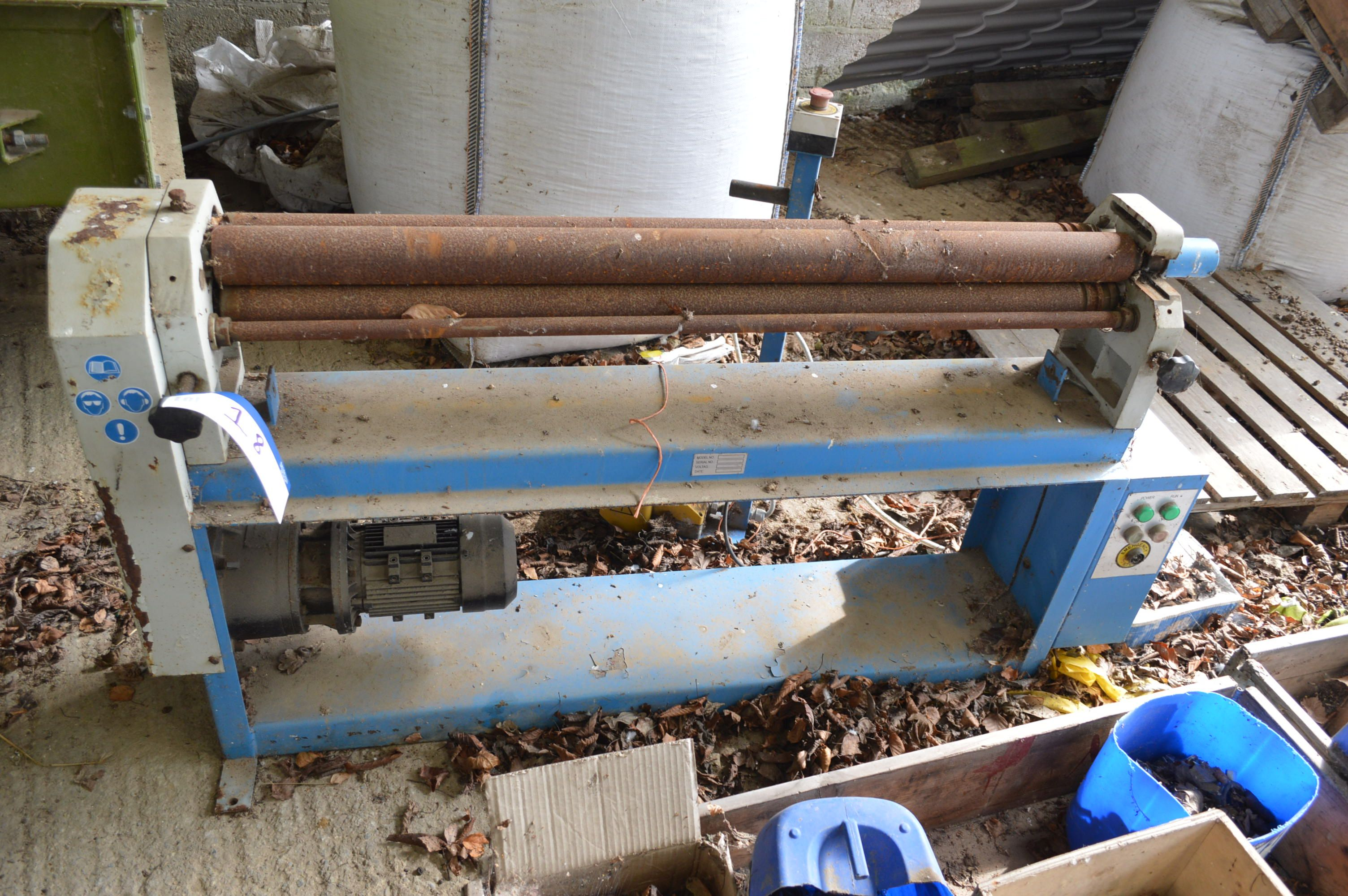 Lot 18 - 1.3m Wide Triple Roll Bending Machine, 240V, with treadle control