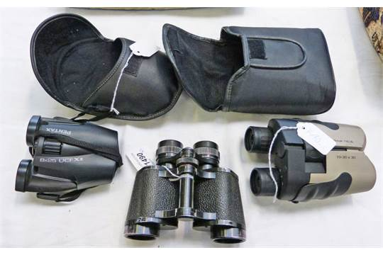 Pair of praktica 10 30 x 30 binoculars pair of pentax 8 x 25 and a