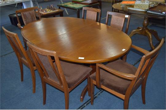 G Plan Teak Extending Dining Table With Four Wicker Back
